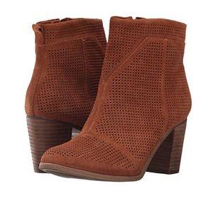 TOMS Lunata Bootie boots suede cinnamon color sz 8